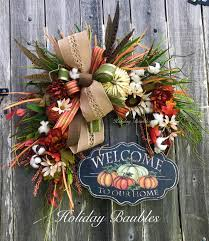 fall grapevine welcome to our home by holiday baubles wreaths