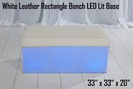 white leather rectangle bench u2013 led lit base u2013 lounge around