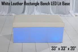Lit Coffee Table White Leather Rectangle Bench U2013 Led Lit Base U2013 Lounge Around
