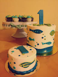 fish birthday cakes green blue fish themed 1st birthday with ombre layers smash