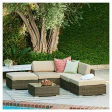 patio sectional sofa the hom barton 6 piece wicker patio sectional sofa set dark