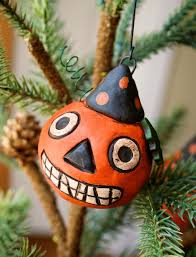 Halloween Ornament Tree by Hilary Kanwischer Primitive Halloween Clay Pumpkin Head Ornaments