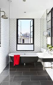 extraordinary bathroom white subway tile with dark floor