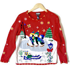 triplet ice skating penguins tacky ugly christmas sweater the