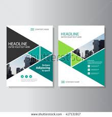 cover layout com green triangle vector annual report leaflet brochure flyer template