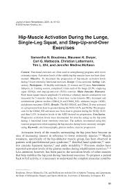hip muscle activation during the lunge single leg squat and step