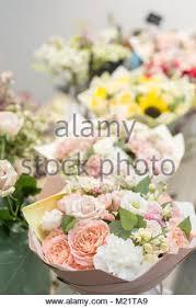 ta florist different varieties fresh flowers in refrigerator for