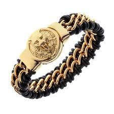 mens black link bracelet images Mens black leather stainless steel gold silver color wolf chain jpg