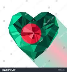Flag Of Bengal Vector Crystal Gem Jewelry Bangladeshi Heart Stock Vector