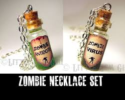 halloween jewelry friendship necklace set zombie antidote u0026 zombie virus cork