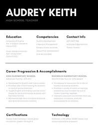 Resume Templates For Mac Black And White Teacher High Resume Templates By Canva