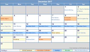 december 2017 calendar with holidays calendar printable free