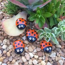 set of 4 hand painted lady bugs zen garden rocks garden