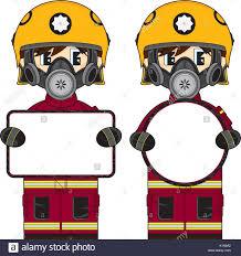 cute cartoon fireman firefighter sign vector illustration