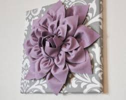 Purple Nursery Wall Decor Wall Flower Lilac Purple Dahlia On Gray And White Damask 12 X12