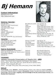 musical theatre resume exles 2 free acting resume template theatre resume template inspirational