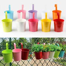 set 10 flower pots hanging garden wall planter metal basket holder