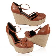 s shoes brown tweed wedge leather sandals ffw08