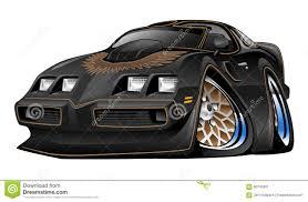 Classic American Black Muscle Car Cartoon Illustration Stock