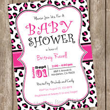 pink and black leopard baby shower invitation