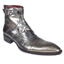 ghost mens shoes metallic silver leather short boots 437m jg1502