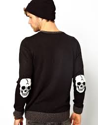 skull sweater lyst edwin skull sweater with patches in black for