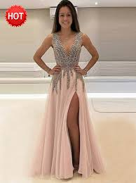 buy a line deep v neck sweep train sleeveless pink tulle prom
