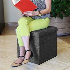 seville classics foldable storage bench ottoman charcoal gray seville classics foldable storage cube ottoman charcoal grey