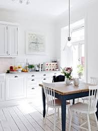 Table Against The Wall Two Chairs One Bench Seat Seating For - Scandinavian kitchen table