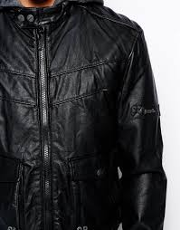 bench jacket faux leather hooded in black for men lyst