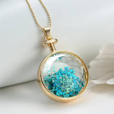 crystal glass pendant necklace images Super dazzling vintage blue dried flowers transparent glass jpg