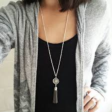 long necklace with tassel images Silver grey flower tassel diffuser necklace aromatherapy jpg