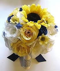 silk flowers for weddings wedding silk flowers bridal bouquet yellow sunflower