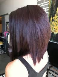 red brown long angled bobs dark brown hair with purple hilites long angled bob haircut color