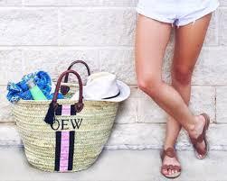 monogrammed baskets monogrammed straw tote bag personalized market basket