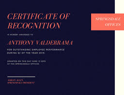navy blue coral employee recognition certificate templates by canva
