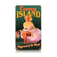 coney island pin up metal sign vintage pinup decor