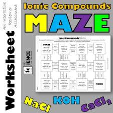 ionic compounds maze for review or assessment of nomenclature tpt