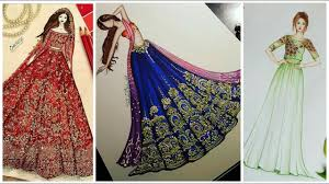 top u0026 stylish party wear lehnga dress designs sketches youtube