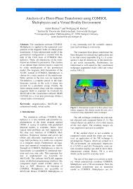 analysis of a three phase transformer using comsol multiphysics