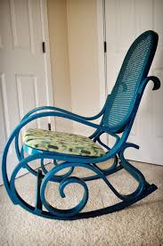 Teal Rocking Chair Furniture Rocking Chair With Cuhsion And Height Back Rattan Chair