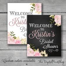 bridal shower signs welcome sign watercolor bridal shower rustic chic chalkboard
