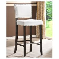 Baxton Studio Bar Stools Aries Modern Bar Stool With Nail Head Trim Set Of 2 White