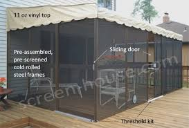 Awning Screen Panels Screen Room Kits Kay Home Wall Attached Screenrooms Patio Mate