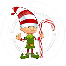 cartoon cute christmas elf character holding candy cane by