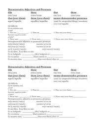 best ideas of demonstrative adjectives worksheets about summary