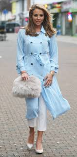 light blue trench coat lydia bright dazzles in baby blue coat and jeans as she films towie