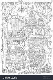 Oak Tree Drawing Vector Hand Drawn Fantasy Old Oak Stock Vector 495390340