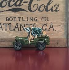 jeep christmas ornament army jeep carrying christmas tree ornament