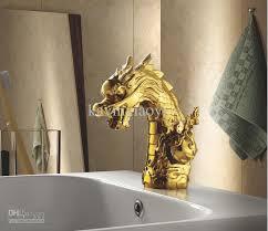 Single Hole Bathroom Sink Faucets Gold Clour Single Hole Handle Bathroom Sink Mixer Faucet Dragon